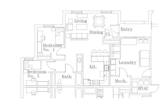 Campus Commons 2 Bedroom Floor Plan