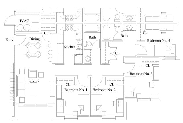 Campus Commons 4 Bedroom Floor Plan